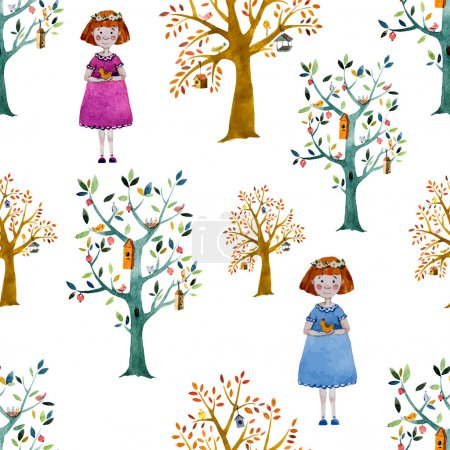 Illustration for Watercolor girls and trees  - vector background - Royalty Free Image