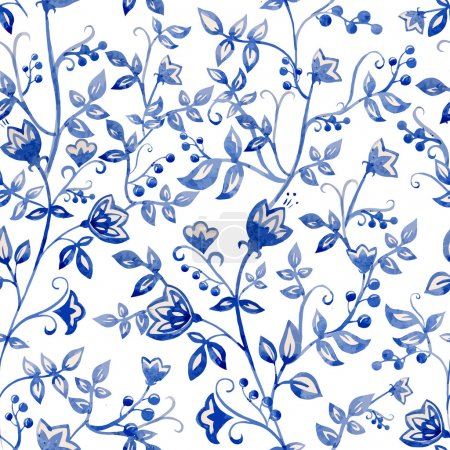 Illustration for Vector watercolor flower pattern for  background - Royalty Free Image