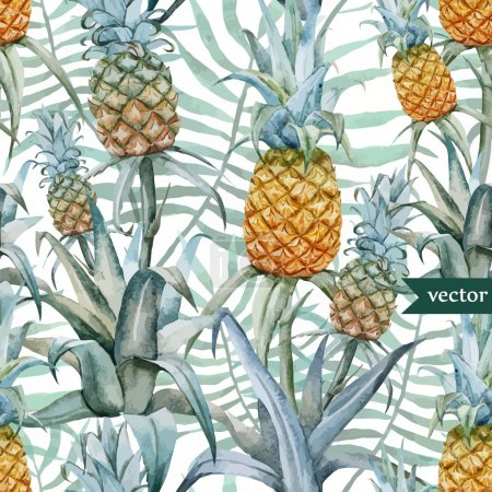 Photo for Watercolor pineapples, tropical plants and fruits - exotic pattern - vector illustration - Royalty Free Image