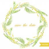 spring flowers card symbol mimosa wreath
