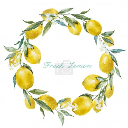 Illustration for Beautiful watercolor vector frame with  fresh yellow lemons - Royalty Free Image