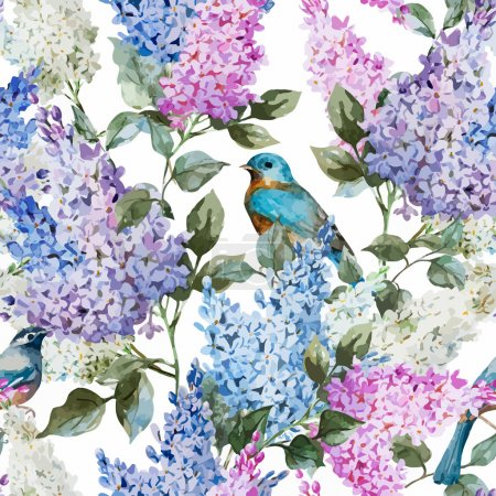 Photo for Beautiful watercolor vector lilac pattern flowers and birds - Royalty Free Image