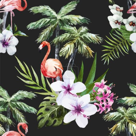 Photo for Beautiful vector watercolor pattern with flamingo palm and flowers - Royalty Free Image