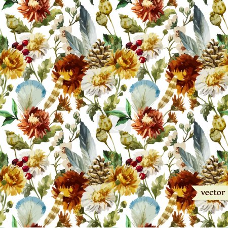 Photo for Beautiful vector boho pattern with watercolor feathers and flowers - Royalty Free Image