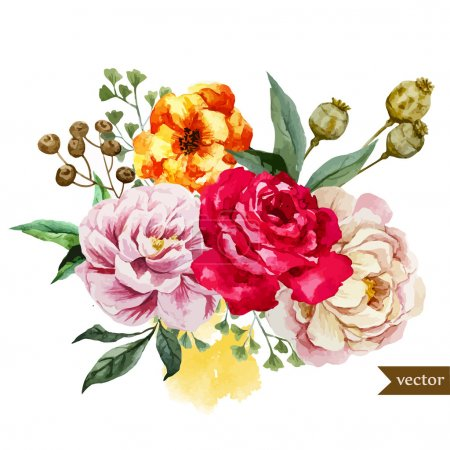 Photo for Beautiful vector pattern with nice watercolor flowers - Royalty Free Image