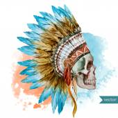 Beautiful vector illustration with watercolor ethnic skull
