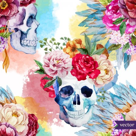 Photo for Beautiful vector pattern with nice watercolor ethnic skull - Royalty Free Image