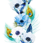 Beautiful vector pattern with nice watercolor anemones