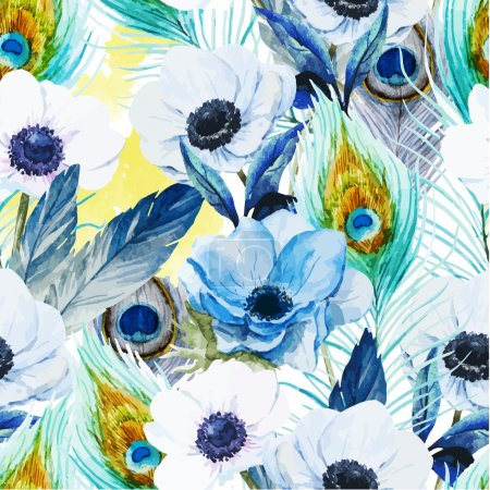 Photo for Beautiful vector pattern with nice watercolor anemones - Royalty Free Image