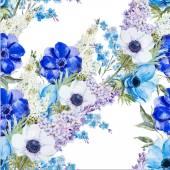 "Постер, картина, фотообои ""Цветы анемоны шаблон"""