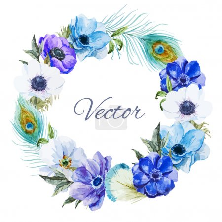 Illustration for Beautiful vector wearth with nice watercolr anemones - Royalty Free Image