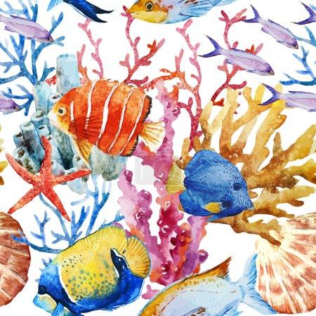 Illustration pour Magnifique motif vectoriel avec de beaux poissons aquarelles - image libre de droit