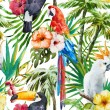 Beautiful vector pattern with nice watercolor trop...