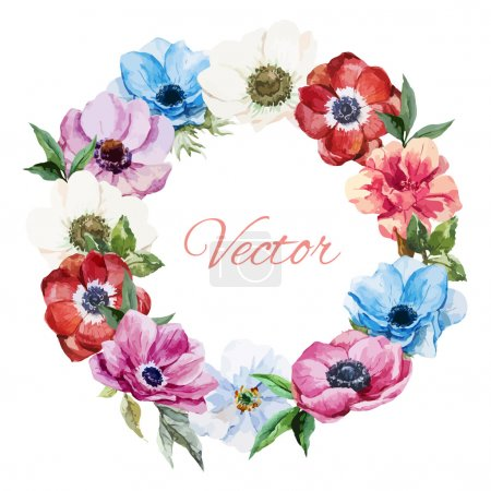 Photo for Beautiful vector wearth with nice watercolr anemones - Royalty Free Image