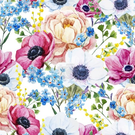 Photo for Beautiful vector pattern with watercolor anemones flowers - Royalty Free Image