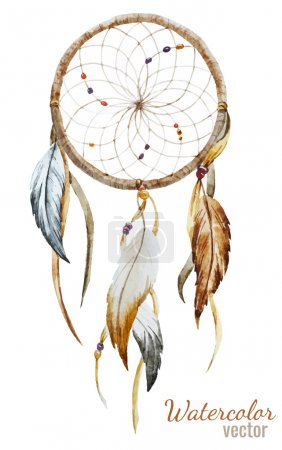 Photo for Beautiful vector image with nice watercolor dreamcatcher - Royalty Free Image
