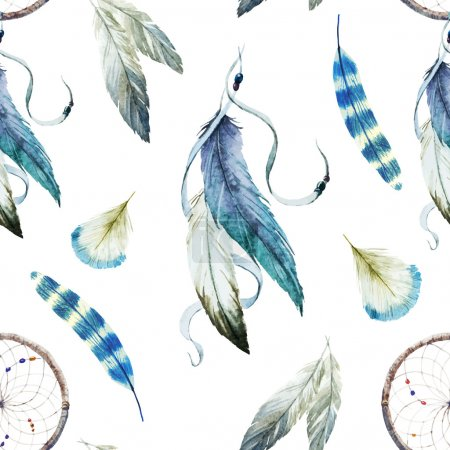 Photo for Beautiful vector pattern with nice watercolor dreamcatcher - Royalty Free Image