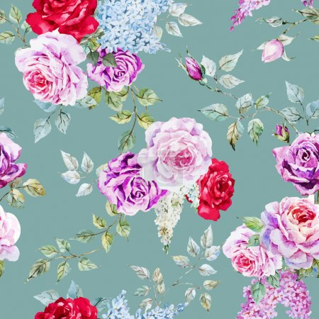 Photo for Beautiful vector pattern with nice watercolor roses - Royalty Free Image