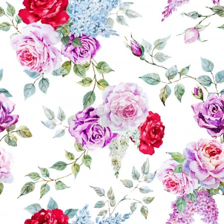 Beautiful vector pattern with nice watercolor rose...