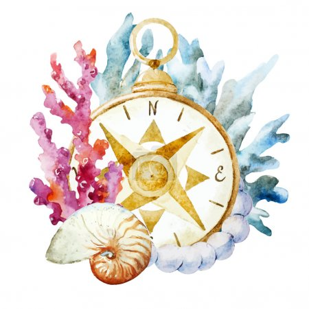 Illustration for Beautiful vector image with nice watercolor compass with corals - Royalty Free Image