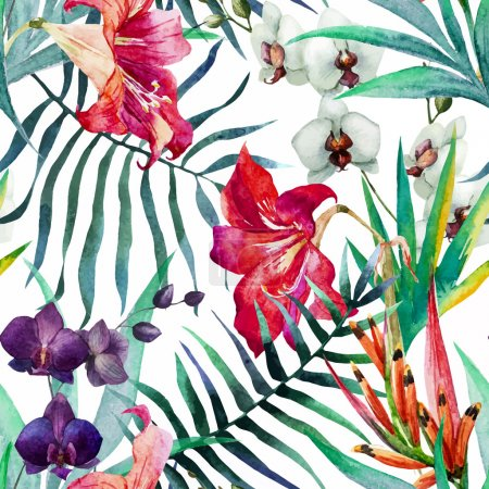 Illustration for Beautiful vector pattern with nice watercolor tropical flowers - Royalty Free Image