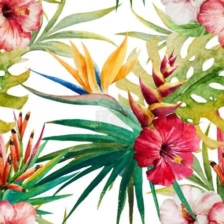 Illustration pour Beau motif vectoriel avec de belles fleurs tropicales aquarelle - image libre de droit