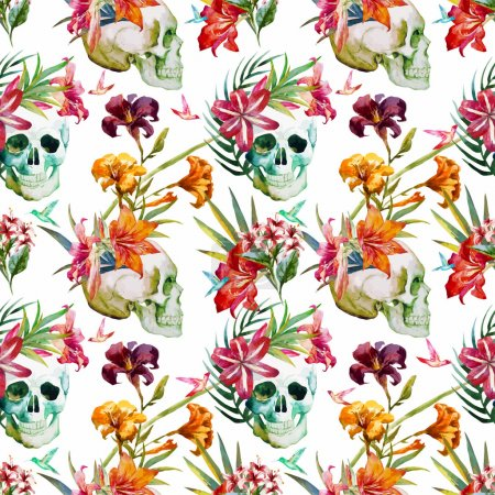 Photo for Beautiful vector pattern with nice watercolor skull and flowers - Royalty Free Image