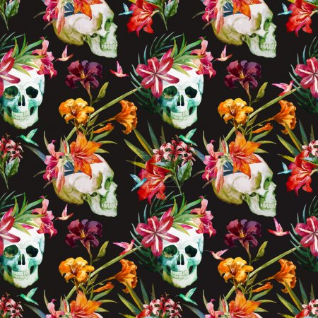 Beautiful vector pattern with nice watercolor skull and flowers