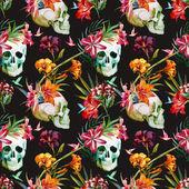 """Постер, картина, фотообои """"Красивые векторные шаблон с Ницца акварель череп и цветы"""""""