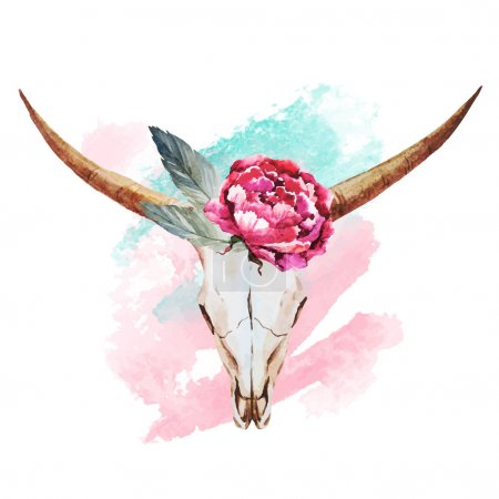 Bull skull watercolor