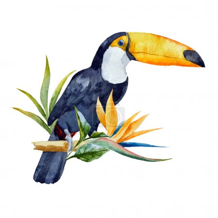 Illustration for Beautiful vector image with nice watercolor toucan with flowers - Royalty Free Image