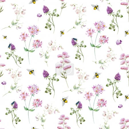 Illustration for Beautiful vector pattern with nice watercolor wildflowers - Royalty Free Image