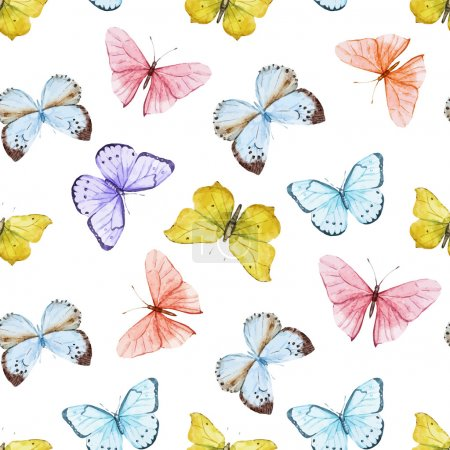 Photo for Beautiful vector pattern with nice watercolor butterflies - Royalty Free Image