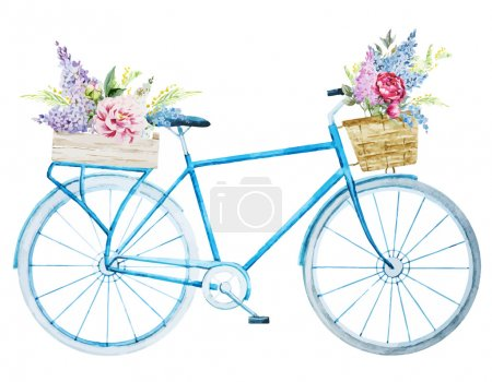 Illustration for Beautiful vector image with nice watercolor bike bicycle - Royalty Free Image