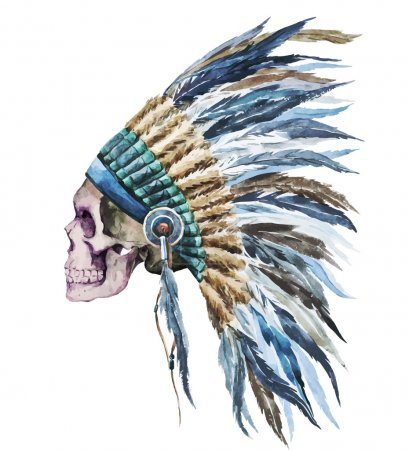 Illustration for Beautiful vector image with nice watercolor native american hat - Royalty Free Image