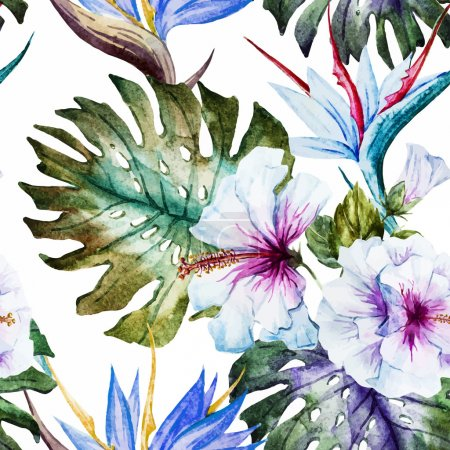 Illustration for Beautiful vector pattern with nice watercolor hibiscus - Royalty Free Image