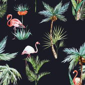 Beautiful vector pattern with nice watercolor palms and flamingo
