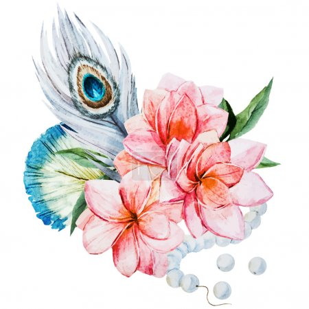 Photo for Beautiful vector image with nice watercolor flowers - Royalty Free Image