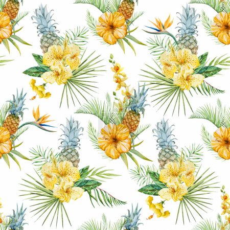 Photo for Beautiful vector pattern with watercolor tropical flowers - Royalty Free Image