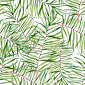 Beautiful vector pattern with nice watercolor tropical leafs