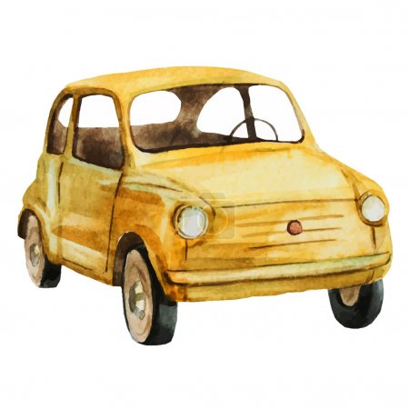 Illustration for Beautiful vector image with nice watercolor retro car - Royalty Free Image
