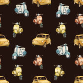 Watercolor retro scooter and car pattern