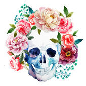 Beautiful vector image with nice watercolor skull