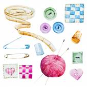 Sewing watercolor items