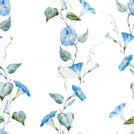 Illustration for Beautiful vector pattern with gentle watercolor flowers - Royalty Free Image