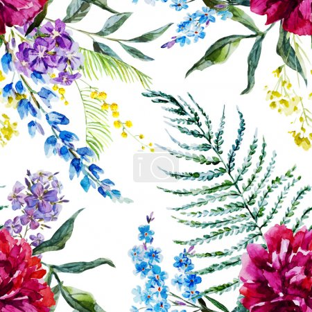 Illustration for Beautiful vector pattern with nice watercolor flowers - Royalty Free Image