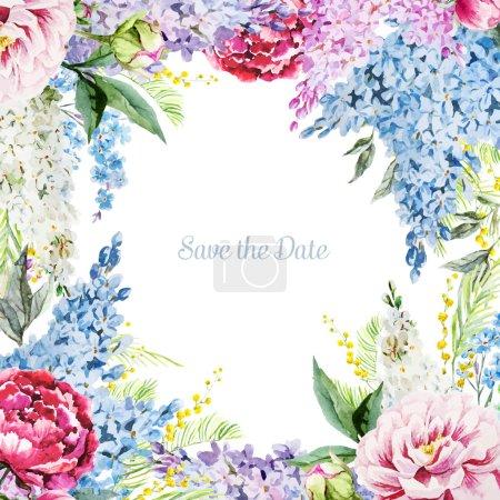 Illustration pour Image de vecteur magnifique avec belle aquarelle cadre floral - image libre de droit