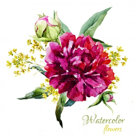 Illustration for Beautiful vector image with nice watercolor summer flowers - Royalty Free Image