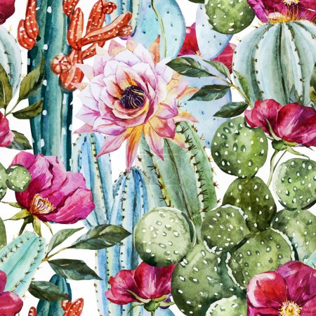 Illustration for Beautiful vector image with nice watercolor cactus - Royalty Free Image