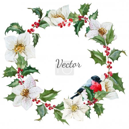 Photo for Beautiful vector image with nice watercolor christmas wreath - Royalty Free Image